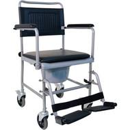 Chaise percée de toilette sur roulettes avec support-pieds