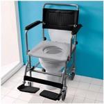 Chaise percée de toilette sur roulettes avec support-pieds - Standard - noir
