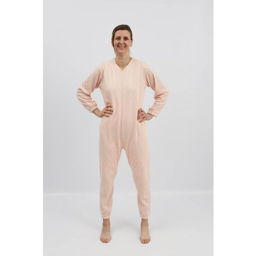 Roze winter pyjama met ritssluiting op de rug