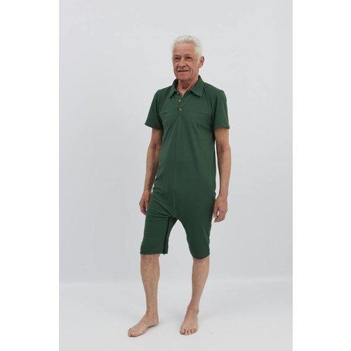 Donker groene polo met ritssluiting tussen de benen