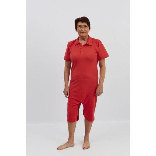 Rode polo met  ritssluiting tussen de benen