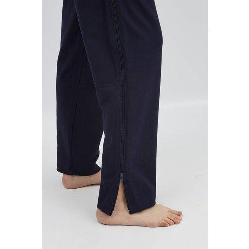Pantalon de rééducation bleu marine avec zip dans les coutures latérales