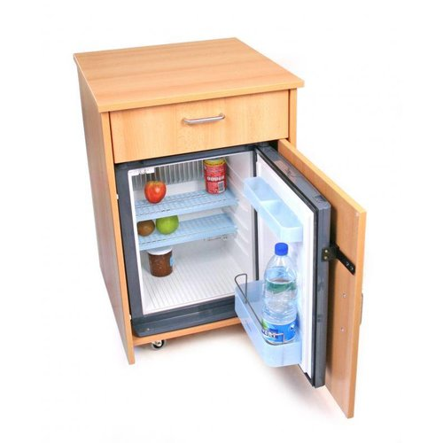 Night table with integrated fridge