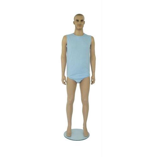 Blauwe body zonder mouwen