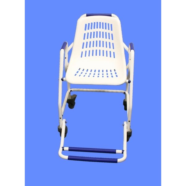 Shower wheelchair with folding footrest