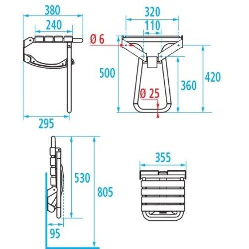 Siège de douche rabattable avec pied d'appui