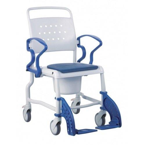 Toilet seat on wheels adjustable in height