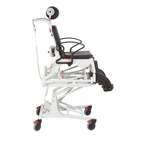 In height-adjustable tilting care chair