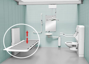 Care tables, adapted wash basins, baths and showers