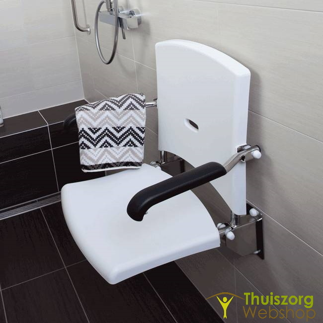 Shower seat with wall mount