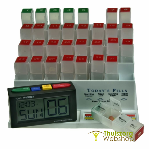 Speaking medication alarm with monthly charger