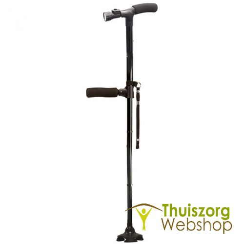 Walking stick with stabilizer and light