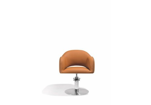 Sibel Furniture Sensum Kappersstoel Cognac/Taupe Met Ronde Voet