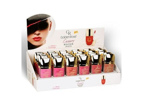 Golden Rose Luxury Rich Color Lipgloss Vacuum Display