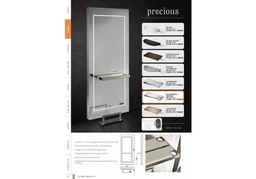 Salon Ambience Precious Styling Unit Led Light Aluminium Shelf+Spiegel