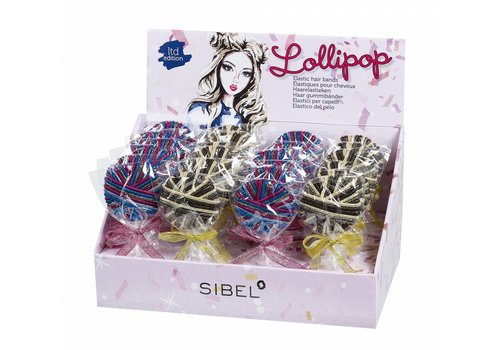 Lollipop Elastiekjes Glitter Display 24X24 Stuks