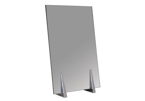 Salon Ambience SA Secret Table Mirror Aluminium Legs White Glass Back
