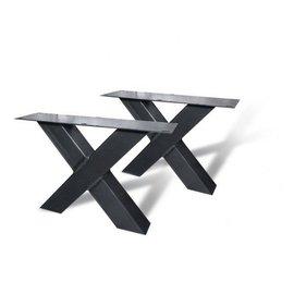 Stalen X-poot salontafel