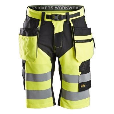 Snickers Workwear FlexiWork, High-Vis Korte Broek+ met Holsterzakken Klasse 1