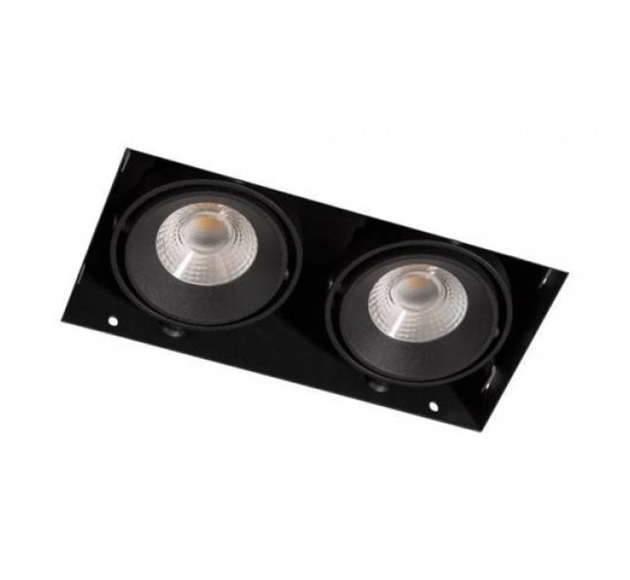 Square Trimless duoLED Downlight 2x7 watt 2700k dimmable