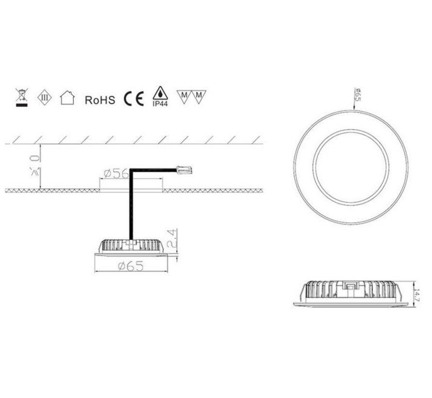 LED cabinet Lighting 2.6w 12v DC 2700k warm white