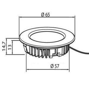 R&M Line LED meubel inbouwspot 2.6w 12v DC warm wit