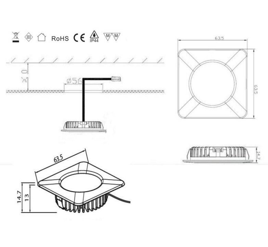 LED cabinet Lightings quare 2.6w 12v DC 2700k warm wit