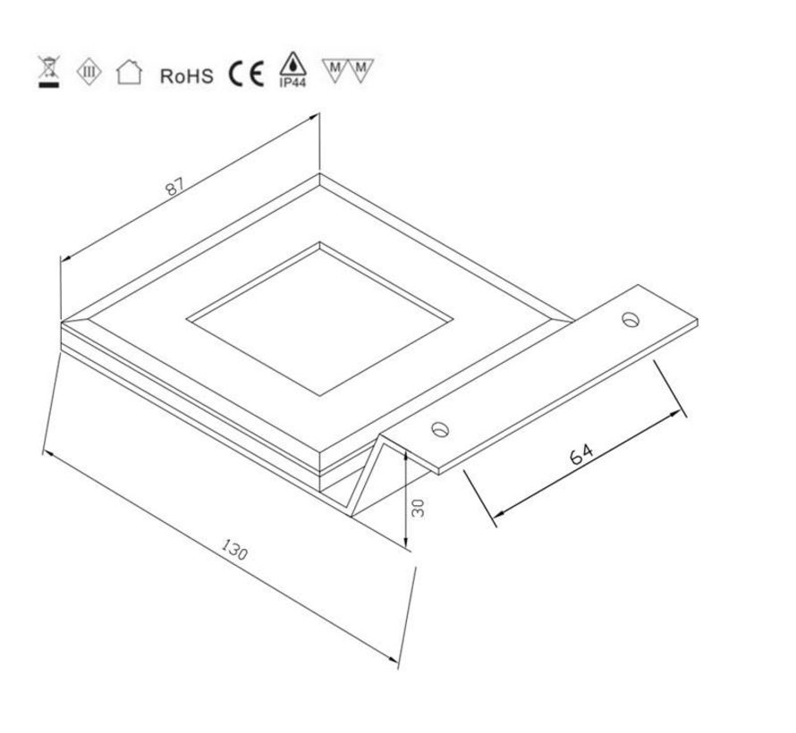 LED kast opbouwspot 2.2w 12v DC 2700k warm wit