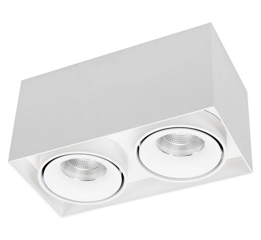 Opbouwspot Caja LED 2x9w 2700K wit