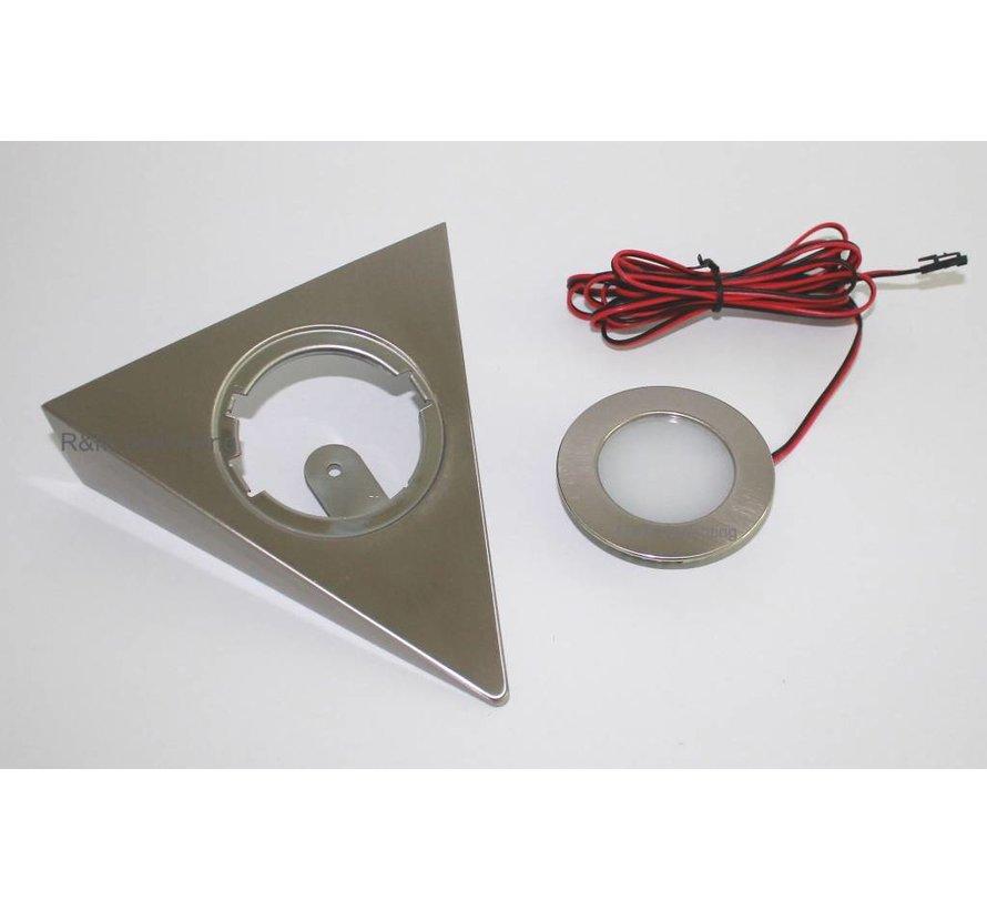 Kastverlichting LED driehoek opbouwspot 2.6w 12v DC 2700k warm wit