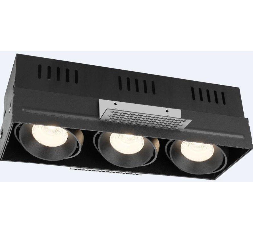 Trimless triple LED recessed luminaire 3x8 Watt