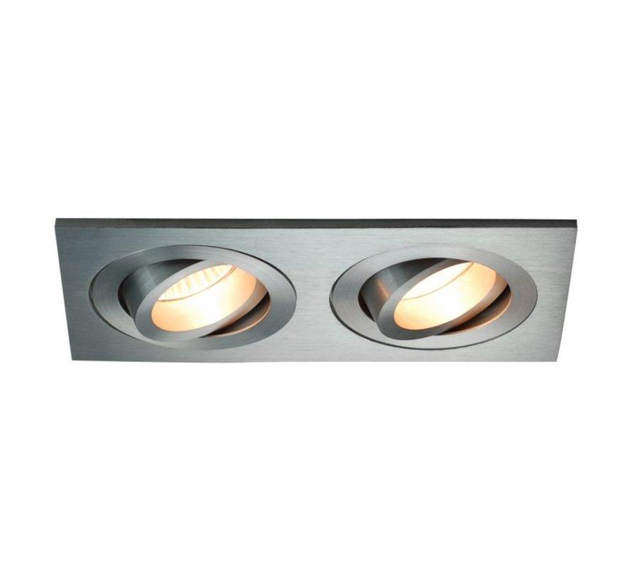Dubbele inbouwspot 2 lichts Tilt Blade 2X50 aluminium