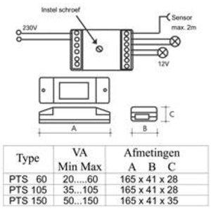 QLT PTS60 Sensor & Push dimtrafo 12 volt 60watt