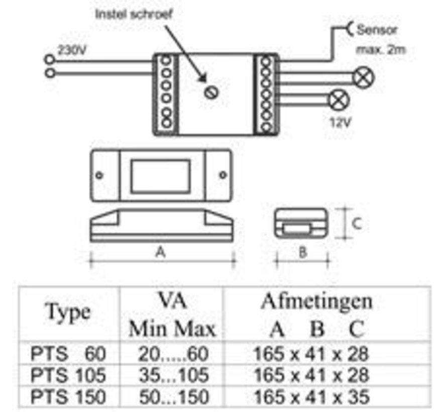 PTS60 Sensor & Push dimtrafo 12 volt 60watt
