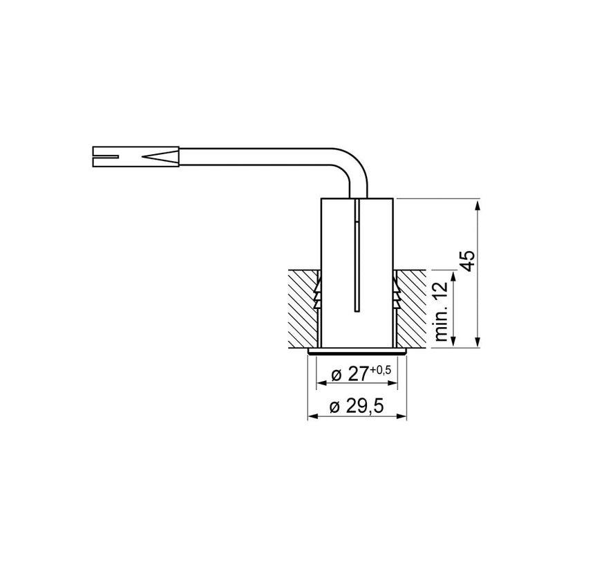 Meubel inbouw schakelaar aan/uit D:29,5mm 230v nikkel-mat
