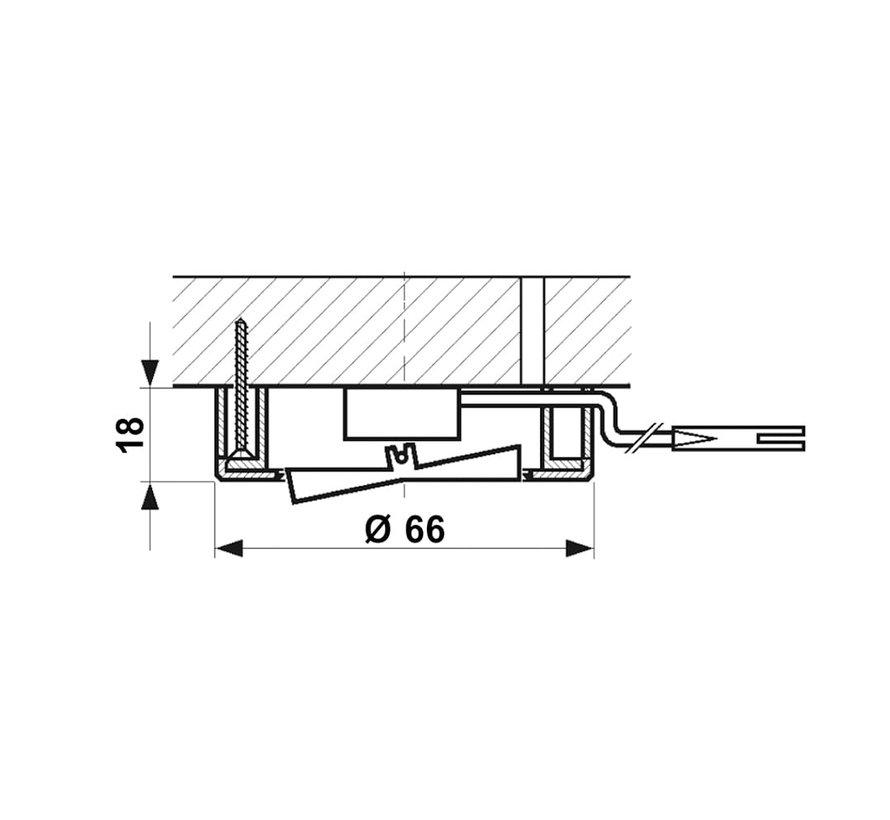 Meubel inbouw en opbouw schakelaar AAN / UIT wit + 2M kabel