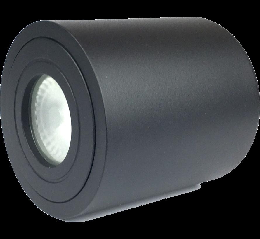 Opbouwspot solo rond IP44 GU10 LED zwart