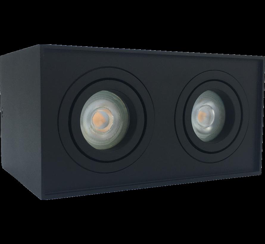 Opbouwspot  dubbel obi2 LED GU10 zwart