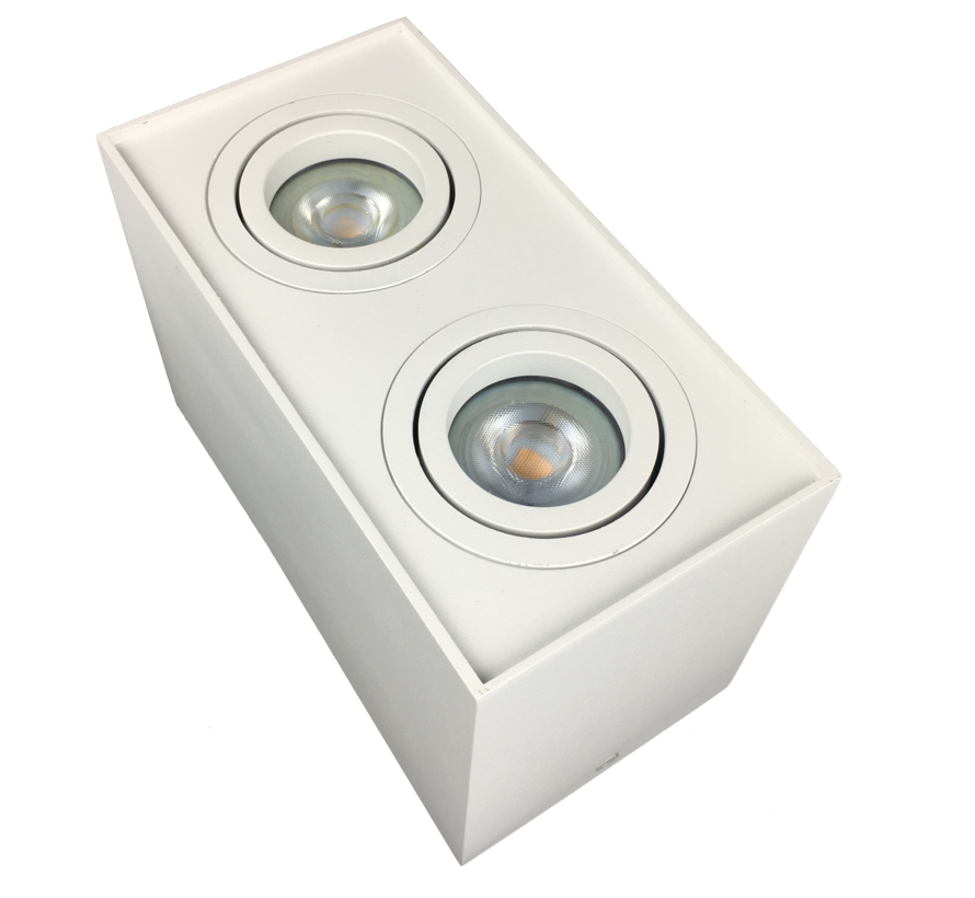 Opbouwspot  dubbel Obi2 LED GU10 wit