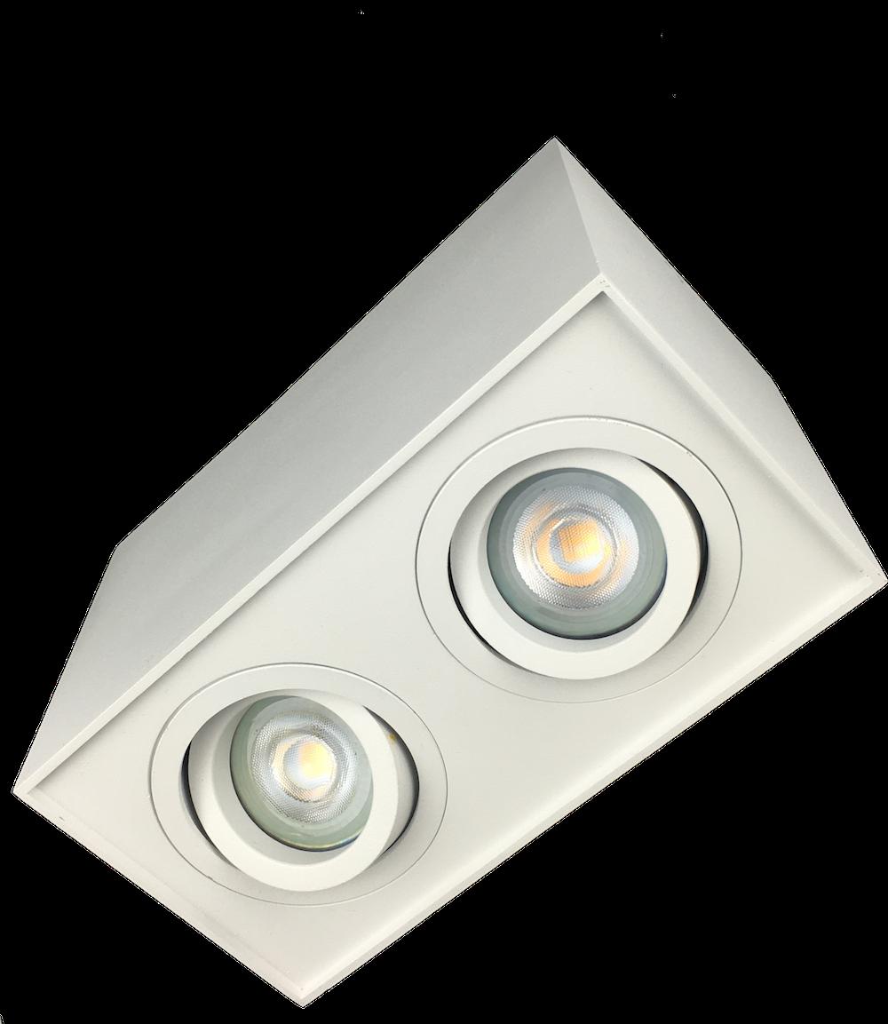 Opbouwspot 2 licht GU10 LED