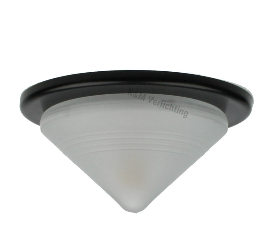 Meubel inbouwspot Pyramid zwart met glas en G4 14w eco lamp