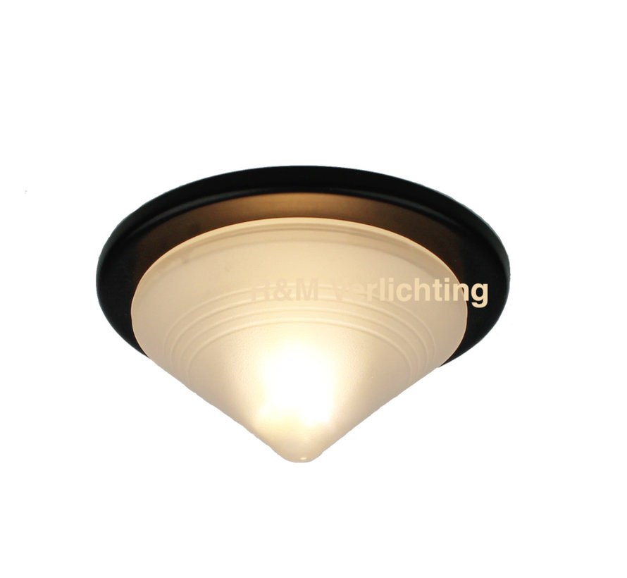 Furniture recessed spot Pyramid black with glass and G414w eco bulb