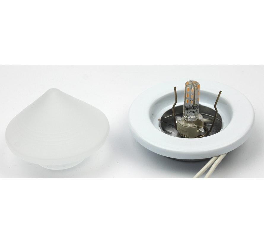 Meubel inbouwspot Pyramid wit met glas en G4 fitting