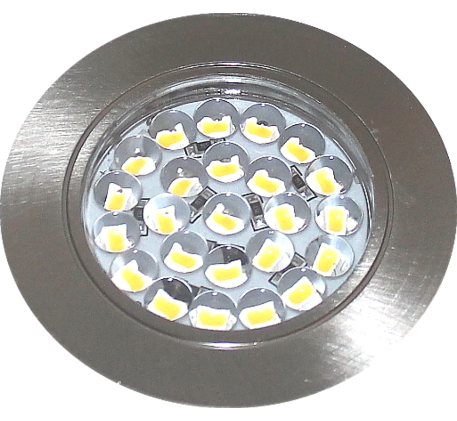 LED meubel inbouwspot plat 12v 1.7w SMD IP44 rvs look