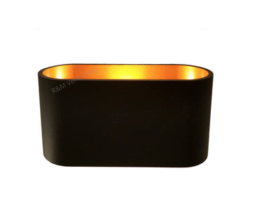 R&M Line Wandlamp Oval Zwart met goud