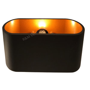 R&M Line Wandlamp Oval LED zwart met goud G9 230v