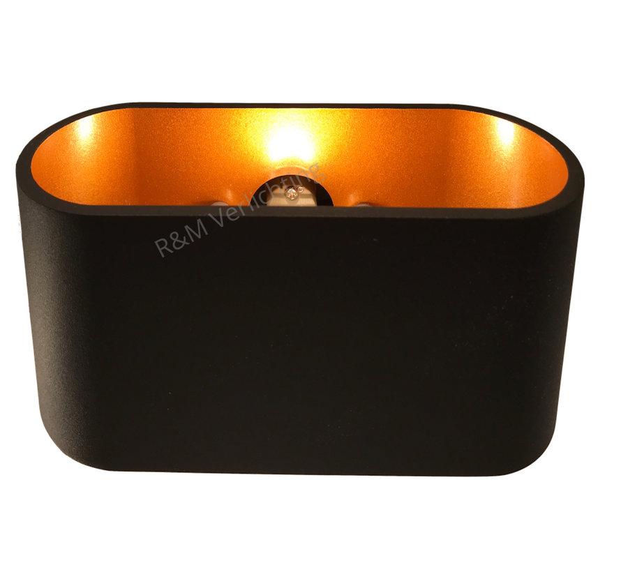 Wandlamp Oval LED zwart met goud G9 230v