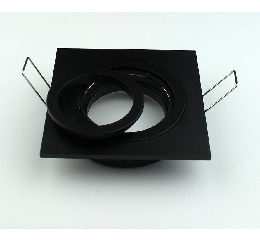 Square recessed downlight black tiltable GU10