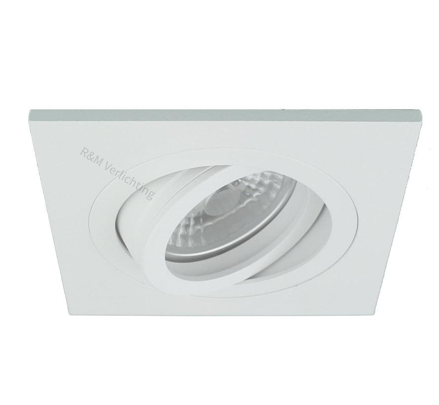 Inbouwspot vierkant wit kantelbaar 12v/230v