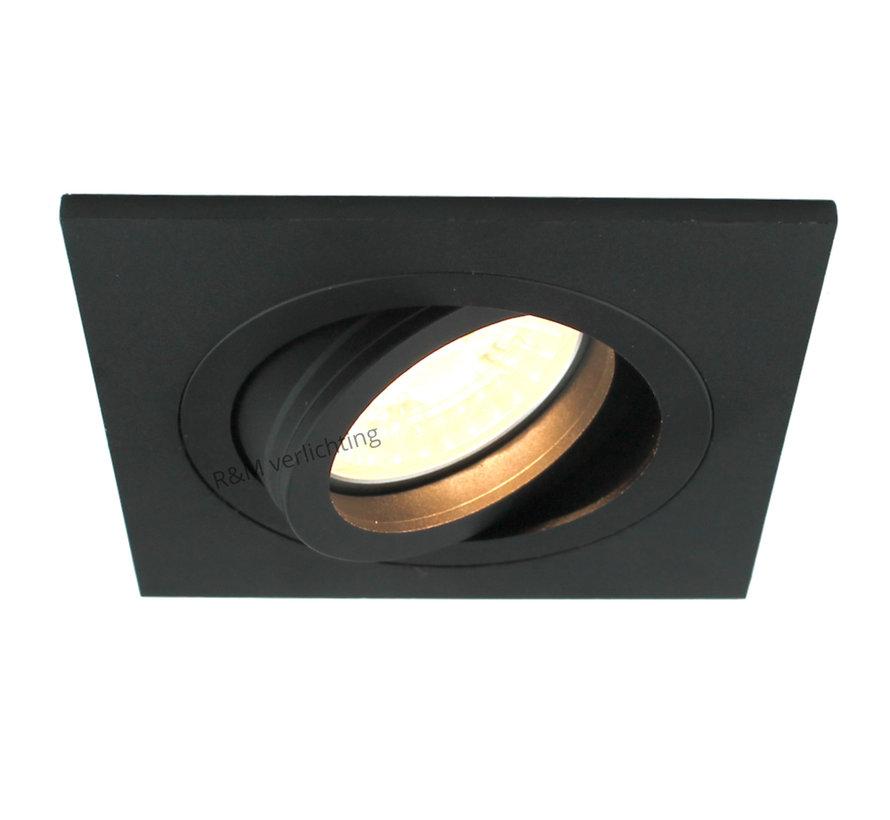 Vierkante inbouwspot Zwart kantelbaar GU10